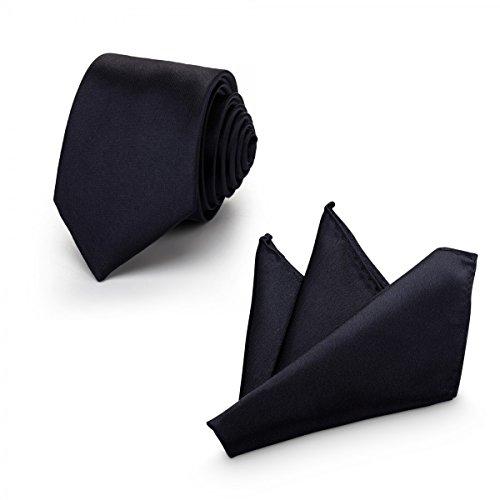 Rusty Bob - Krawatte mit Einstecktuch (in vielen Farben) - für die Verlobung, die Hochzeit - Schlips mit Taschentuch für das Sakko - 2er-Set - Marine