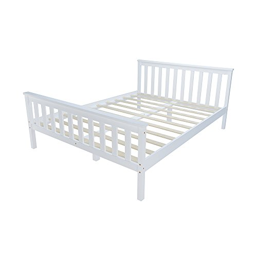 Panana Double Bed in White 4'6 Wooden Frame White 4ft6