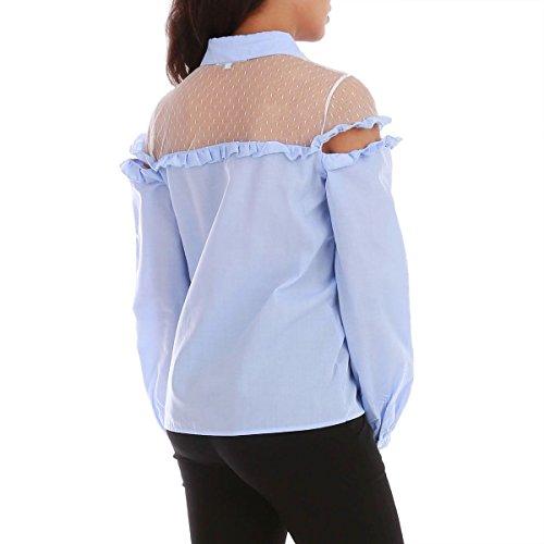 La Modeuse - Chemisier épaules dénudées détail dentelle Bleu Clair