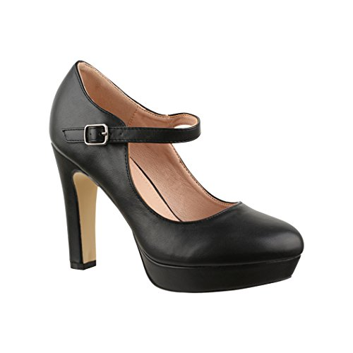 Elara Damen High Heels | Bequeme Spangen Pumps | Riemchen Vintage | Chunkyrayan | E22320 Black-40