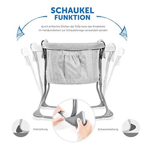 Imagen para Fillikid Minicuna de viaje plegable bebé 90x40 cm - Cuna portátil con función mecedora, capota, colchón, mosquitera y bolsa de transporte - Gris