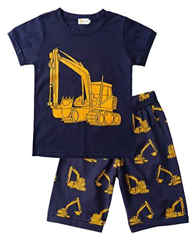 Little Hand Schlafanzug Jungen Dinosaurier Bagger Motorrad Flugzeug Kinder Sommer Zweiteiliger Baumwolle Kurz Nachtwäsche 92 98 104 110 116 122