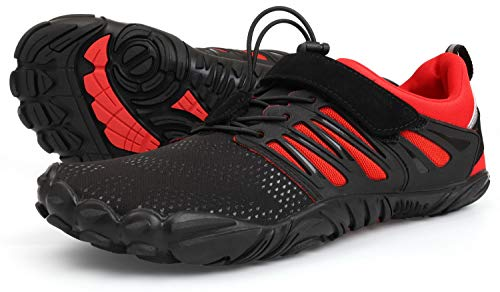 WHITIN Damen Barfußschuhe Leichtgewicht Traillaufschuhe Für Frauen Straßenlaufschuhe rutschfest Freizeitschuhe Trekking Sportschuhe Wanderhalbschuhe Schwarz Rot Größe 38