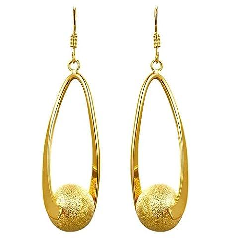 AMDXD Schmuck Vergoldet Damen Ohrringe Hohl Oval Design Ball Anhänger