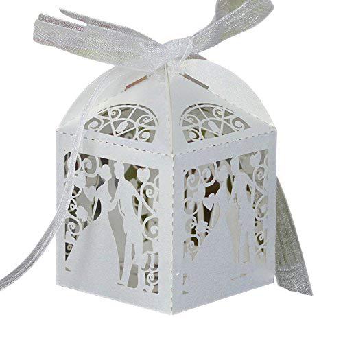 PONATIA 50pcs / Lot bunte Braut und Bräutigam-Süßigkeit-Kasten-Papier-Hochzeits-Bevorzugungs-Süßigkeit-Kästen Partei-Verpackung (weiß)