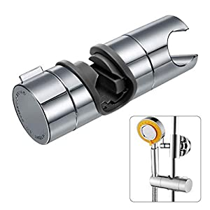 Joyoldelf Universal Handbrause Halterung, verstellbar Duschhalterung, 360° drehbar Brausehalter für Slide Bar 18-25 mm Außen Durchmesser, ABS Grade Kunststoff, Verchromt