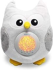 Idea Regalo - Bubzi Co Peluche per la nanna - Peluche Carillon e lampada notturna con proiettore stelle - Pupazzo Carillon per la nanna del bebè - Gufo Con dieci melodie e proiettore luci - Regalo Bambino Perfetto