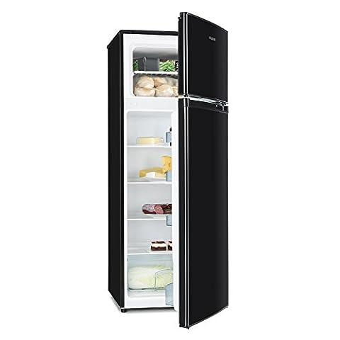 Klarstein Height Cool Black • Kühl- und Gefrierkombination • 171 Liter Kühlschrank • 41 Liter Gefrierfach • 4 große Ablagen • Gemüsefach • 4 Türablagen • 7-stufige Temperatureinstellung im Kühlraum • wechselbarer Türanschlag • schwarz