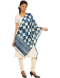Indo Mood   Bagru Hand Block Printed Indigo Blue Hand Woven Pure Linen Style 4 Stole
