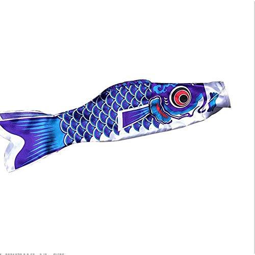 FEKETEUKI Nuovo 5 Colori 55 Centimetri Impermeabile Carpa Giapponese Windsock Streamer Appeso Bandiera Pesce Decor Aquilone Koinobori per Bambini Blu