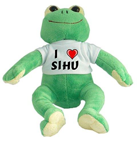 Plüsch Frosch mit T-shirt mit Aufschrift Ich liebe Sihu (Vorname/Zuname/Spitzname)