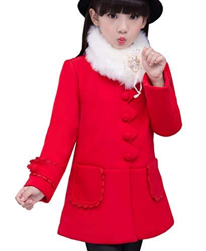 Ankoee Chaqueta Invierno Elegante Chaqueta niña Rojo