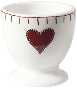 Jan Constantine Coquetier en porcelaine anglaise Motif cœur Blanc/rouge