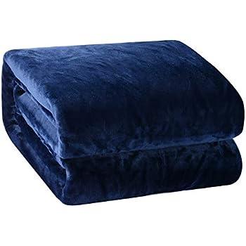 Bleu Marin DOZZZ Super Doux plaide en Fausse Fourrure 198 x 147 centim/ètres Couverture Grise Lavable en Machine Couverture l/ég/ère Couverture Chaude pour canape