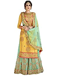 c611f845d Generic Women s Georgette Fabric Heavy Embroidered Sahara Suit (Yellow
