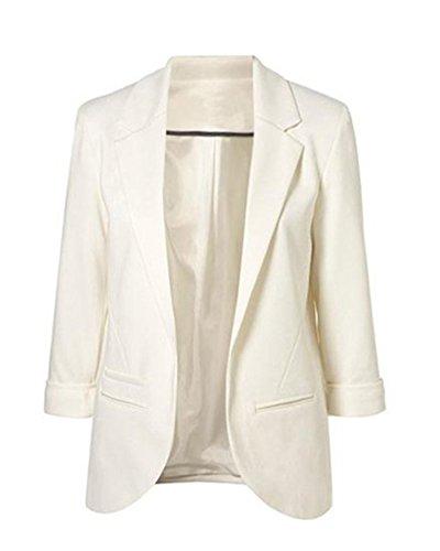 Damen Mit Blazer 3/4 Ärmel Jacke Business Büro Jäckchen Party Freizeit Mantel Weiß XL
