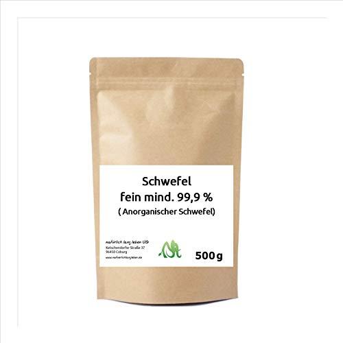 Anorganischer Schwefel (Sulfur) fein mind. 99,9% 500g pharmazeutisch rein, Original aus Naturrohstoff, hochwertig gereinigt, säurearm, doppelt verpackt -