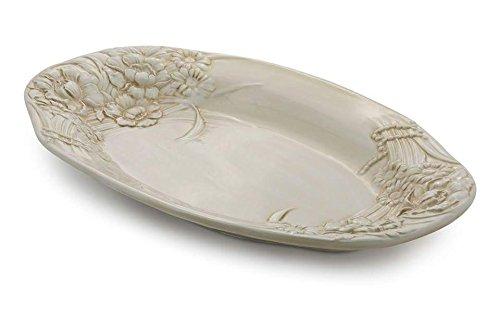 Bassano Ausgefallene italienische Keramik große beige ovale Servierschale 'ANTIK' 55,5x36x6