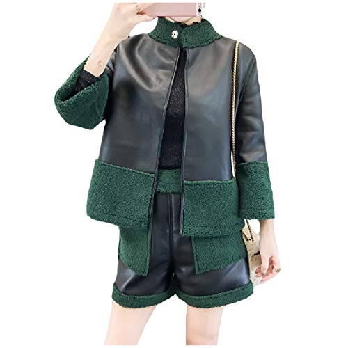 CuteRose Women's Jacket Shorts Spring/Fall 2 Piece Outfits Set Black S Womens Wool Toggle