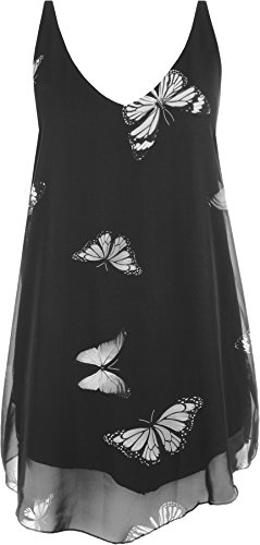WearAll - Damen Chiffon Schmetterling Druck Liniert Ärmellos Tauchen Saum Weste Top - Schwarz - 46 (Top Shirt Chiffon)