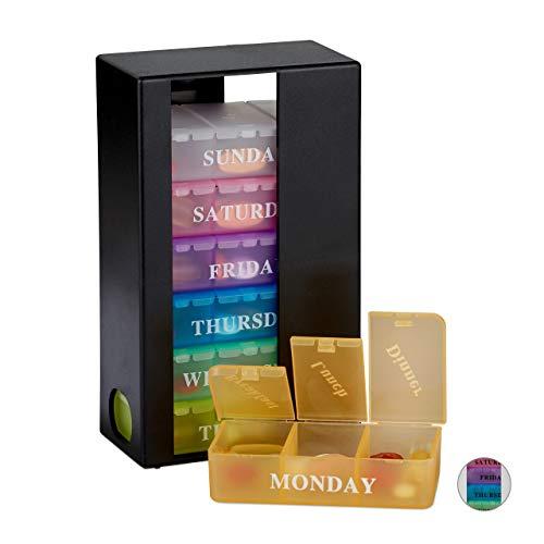 Relaxdays Tablettenbox, 7 Tage, 3 Fächer, wöchentliche Pillendose für morgens, mittags, abends, Englisch, schwarz-bunt
