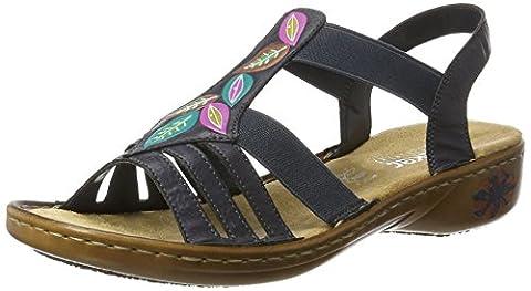 Rieker Damen 60171 Offene Sandalen mit Keilabsatz, Blau (Ozean / 14), 42 EU