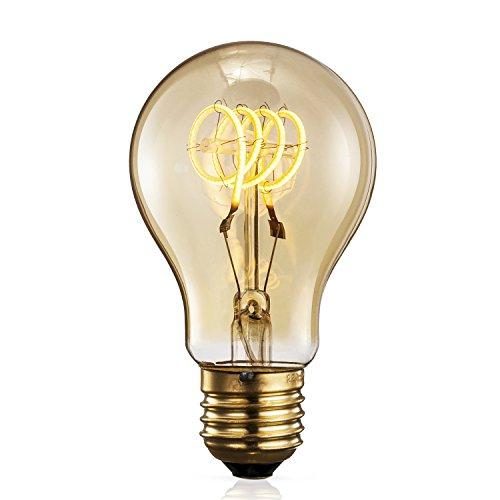TRANSTEC A60 A19 FLEXIBLE Filament Ampoule - 4 Watt Verre Ambré Vintage Edison Maison-Deco Rétro Ampoule Blanc Chaud - Large Dimmable - Noël Valentin Fête Ampoule - E27 Culot 2200K