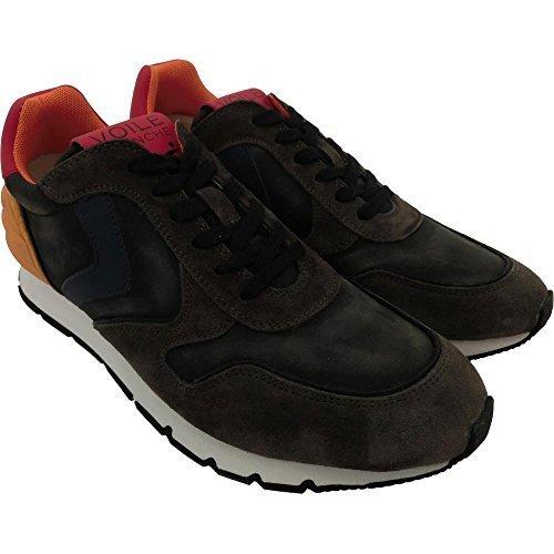 Voile Blanche scarpe uomo 1243 - Sneaker Liam Power Velour/Nylon/Tecno Dec, 0012010422.05.9142 Lavagna-Blu-Arancio, Camoscio, Grigio (39)
