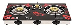 Surya Crystal 3 Burner Automatic Gas Stove Butterfly Design, Red