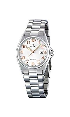 Festina F16375/7 - Reloj analógico de cuarzo para mujer con correa de acero inoxidable, color plateado de Festina