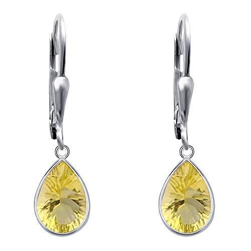 Pendientes de color amarillo para las mujeres | limón cuarzo joyería | plata de ley pendiente fijó | cuelga el pendiente Set | pendientes libres de níquel | Pendientes de cuarzo limón | (3,41 Ctw)