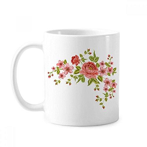 DIYthinker Rote Rosen-Muster Blumen Pflanzen Rose Bush klassischer Becher weißer Keramik Keramik-Schalen-Geschenk Milch Kaffee mit Griffen 350 Ml Mehrfarbig
