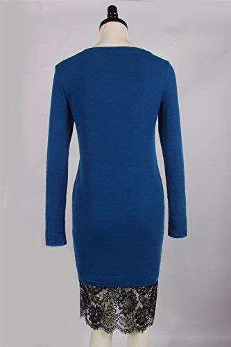 QIYUN.Z Femmes Dames Automne Hiver Ronde Cou Dentelle Ourlet Slim Fit Crayon Robe Bleu Royal