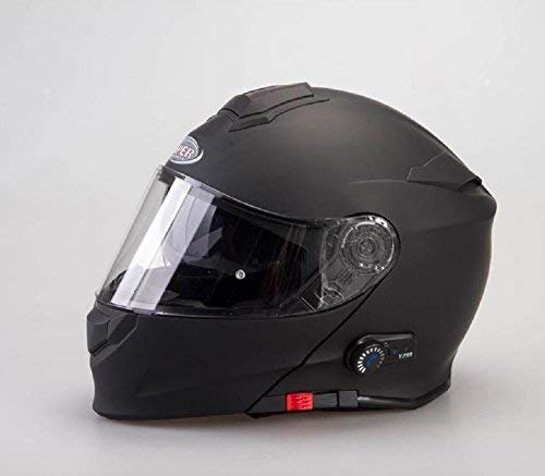 Casco modulare bluetooth viper v171 casco moto touring apribile bluetooth integrato casco - colore: nero opaco m