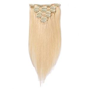 Beata 35,6- 50,8cm Clip en Extensions de cheveux humains de soie de cheveux lisses, 100% Remy Extensions de cheveux à clipser (35,6cm -70g-7pcs, # 613Bleach Blonde)