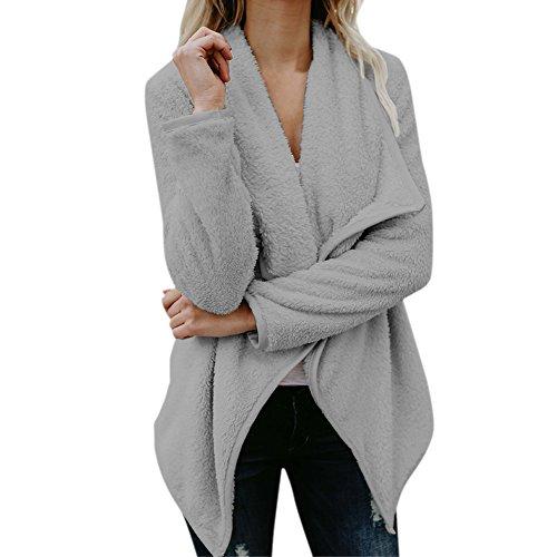 8c6908e5e892 semen Damen Jacke Strick Cardigan Kuschelig Offene Fleecejacke Teddy Winter  Warm Mantel Sweatjacke Fleece Outwear