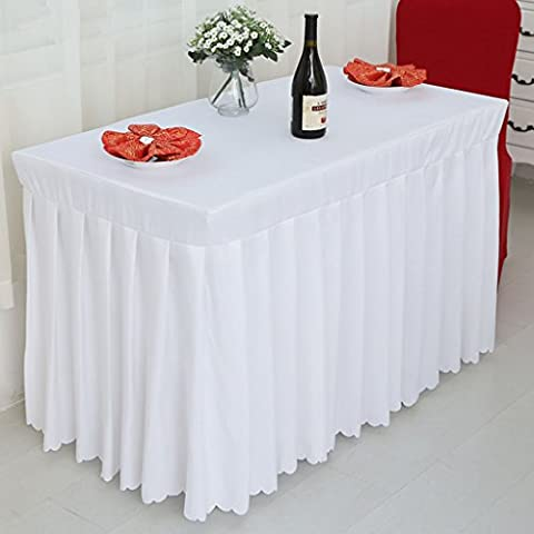 *linge de cuisine Fitted Table Skirt Cover Wedding Banquet With Top Topper Nappe-Blanc ( Couleur : Blanc , taille : 40*150*75CM )