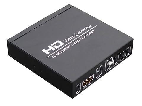 SCART+HDMI vers HDMI+HDMI Convertisseur - signal de Format 480I(NTSC)/576I(PAL) vers signal HDMI output 720P/1080
