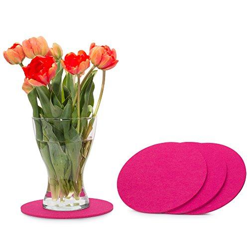 FILU Filzuntersetzer Rund 20cm 4er Pack (Farbe Wählbar) Pink - Untersetzer aus Filz für Tisch und Bar als...