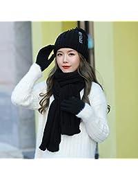 MAOCAP Guanto da Donna Cappello Sciarpa Tre Pezzi Invernale Uno più Velluto  più Velluto Caldo Cappello 1bcc95e9116d