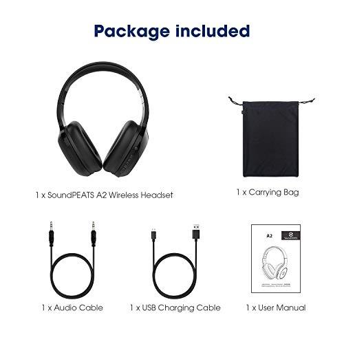 SoundPEATS Bluetooth Kopfhörer Over Ear Kopfhörer 20 Stunden Spieldauer kabellos & 3,5-mm-Audioeingang on Ear Headset Kabelgebundene Kopfhörer Bass Stereo Mikrofon Kompatibel für Samsung/iPhone/Huawei - 7