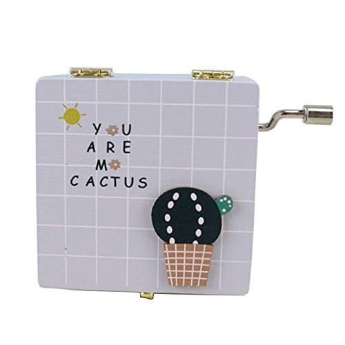 YI KUI Caja de música, manivela Caja de música, Caja Cuadrada de Mano de Cactus clásica clásica, Caja de Manualidades de Madera Creativa para niños/Amigos,Gray