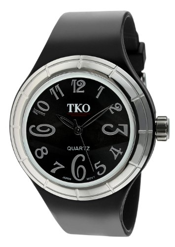 TKO ORLOGI Frauen TK530-BS Black and White Collection Alle Rubber Black Glossy Uhr (White Collection Frauen)