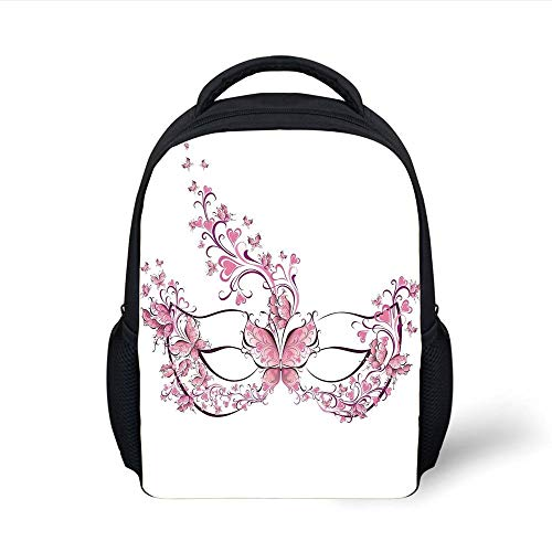 Masquerade,Masks Carnival Dress Centuries Old Tradition of Venice Theme Design Print,Pink and White Plain Bookbag Travel Daypack ()