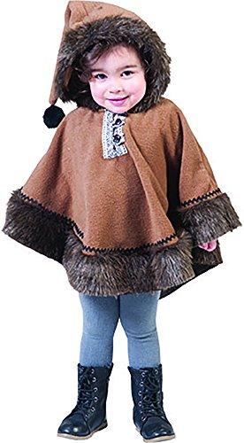 Confettery - Eskimo Kostüm mit Kapuze für Kinder, Braun (Niedliche 70er Jahre Halloween Kostüme)