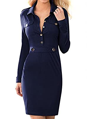 Miusol Women's Vintage Navy Blue Long Sleeve Slim Fit Casual Dress