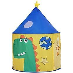 SONGMICS Tente de Jeu, Maison de Jeu, Château de Princesse, Intérieur et Extérieur, Tipi, avec Sac de Rangement, Thème Dinosaure, pour 3 Enfants LPT02YU