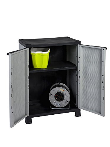Kunststoffschrank Madera, im Rattan Design mit einem verstellbaren Einlegeboden mit 20kg Tragkraft - mittlere Version -