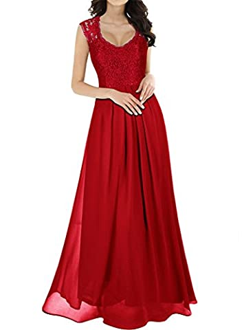 MIUSOL Women's Vintage Elegant Lace Floral Chiffon Cap Sleeve Prom Ball Gown Plunge Neckline Long Maxi Evening Party Dresses for Women (Bright