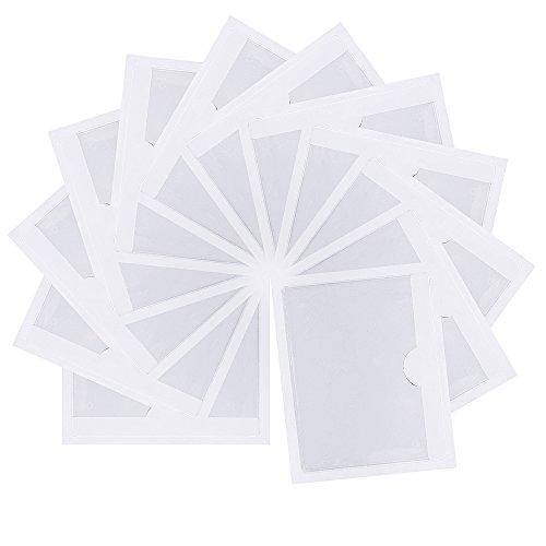 Homgaty Lot de 12x pochettes pour ticket de stationnement, note, permis de conduire, affichette, avec face arrière adhésive pour pare-brise de voiture, de caravane